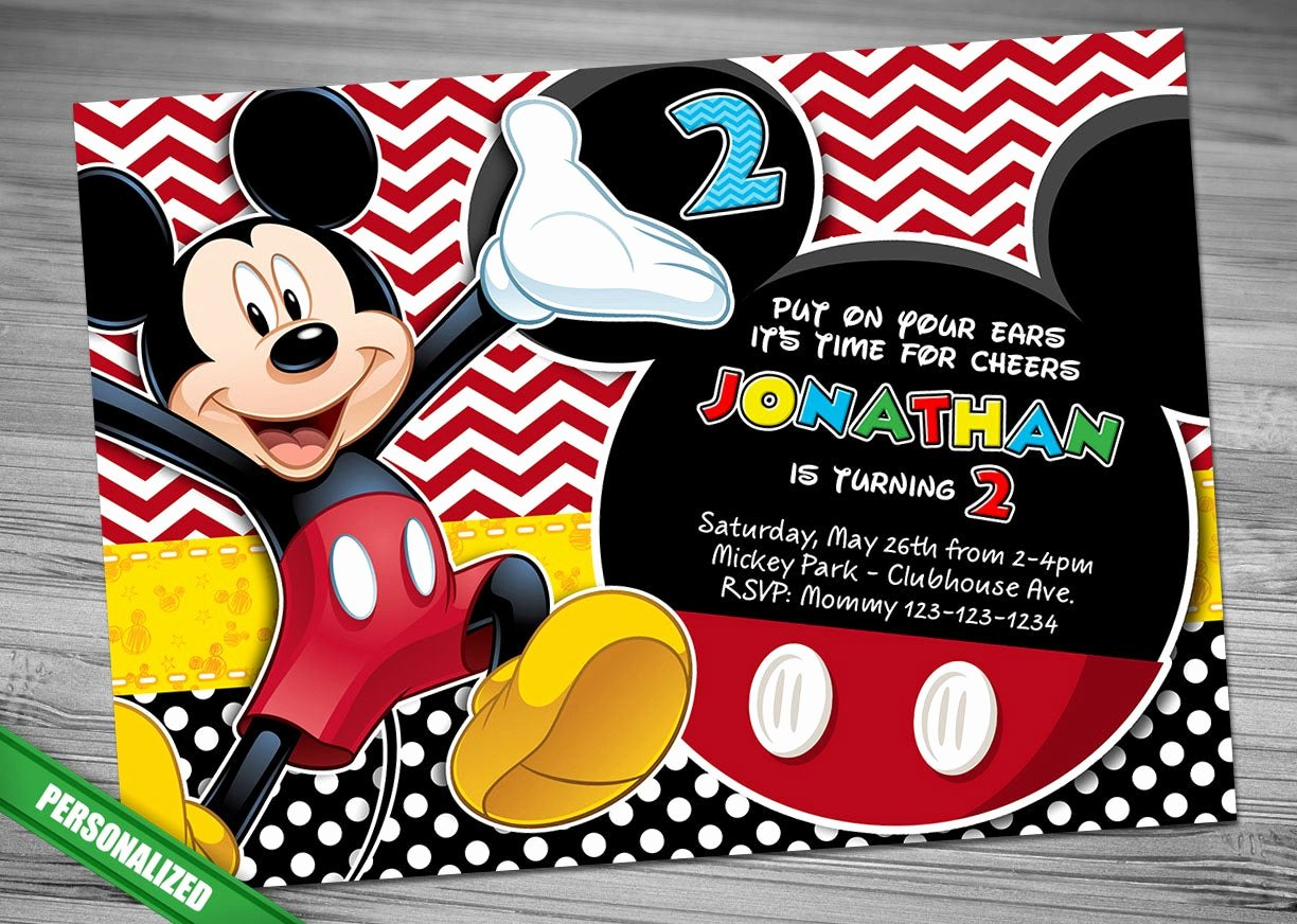 Mickey Mouse Invitations Template Best Of Mickey Mouse Invitation Mickey Invitation Mickey