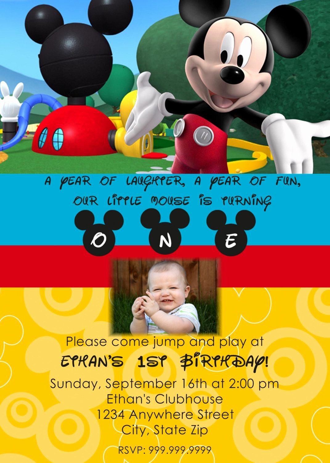 Mickey Mouse Invitations Template Inspirational Mickey Mouse Clubhouse Personalized Invitation $13 00