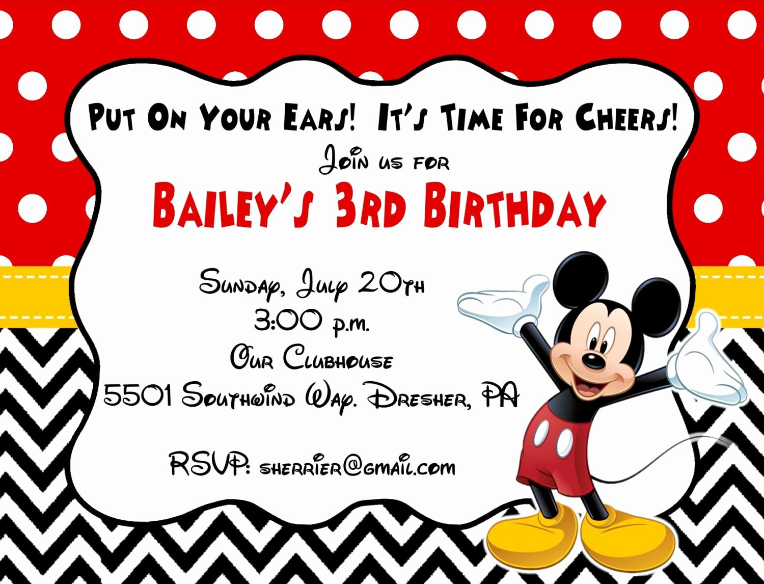 Mickey Mouse Invitations Template Lovely 10 Printed Mickey Mouse Invitations with Envelopes Free
