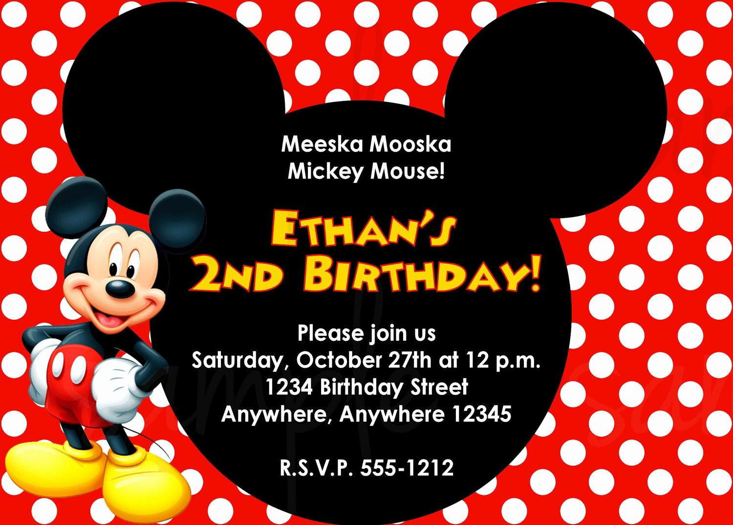 Mickey Mouse Invitations Template Lovely Mickey Mouse Birthday Invitation