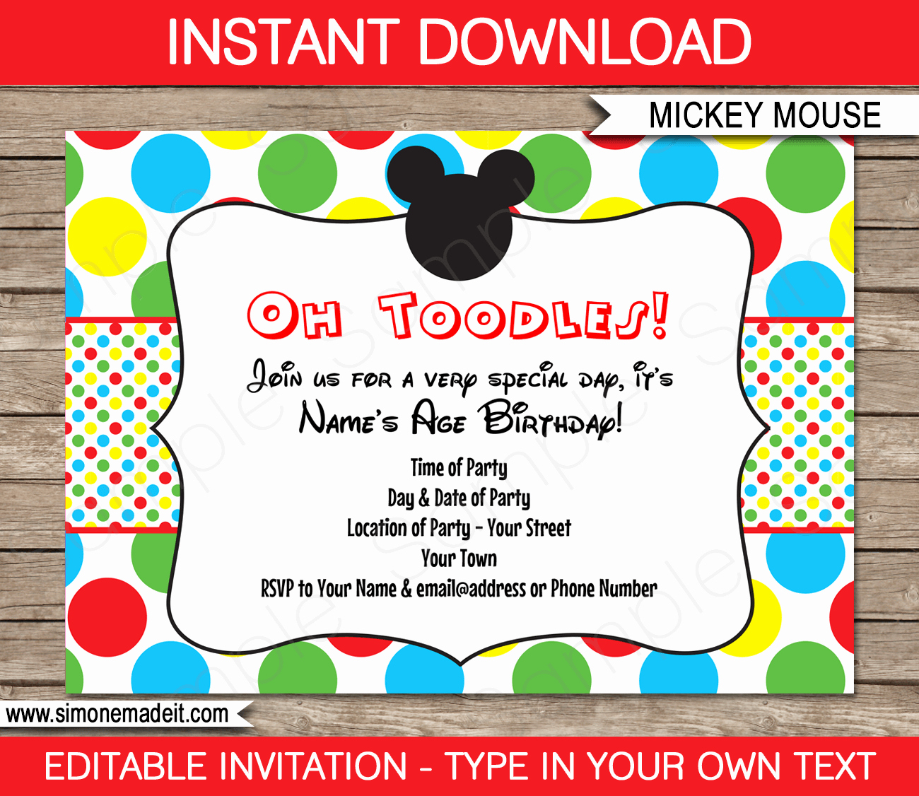 Mickey Mouse Invitations Template Lovely Mickey Mouse Party Invitations Template
