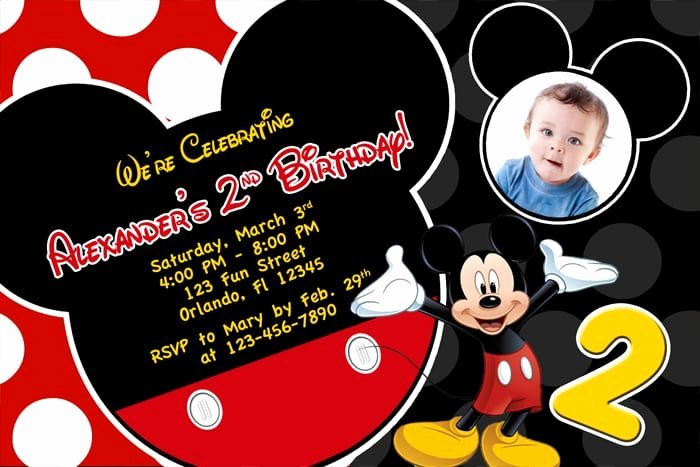 Mickey Mouse Invitations Template Luxury Free Printable Birthday Invitations Mickey Mouse