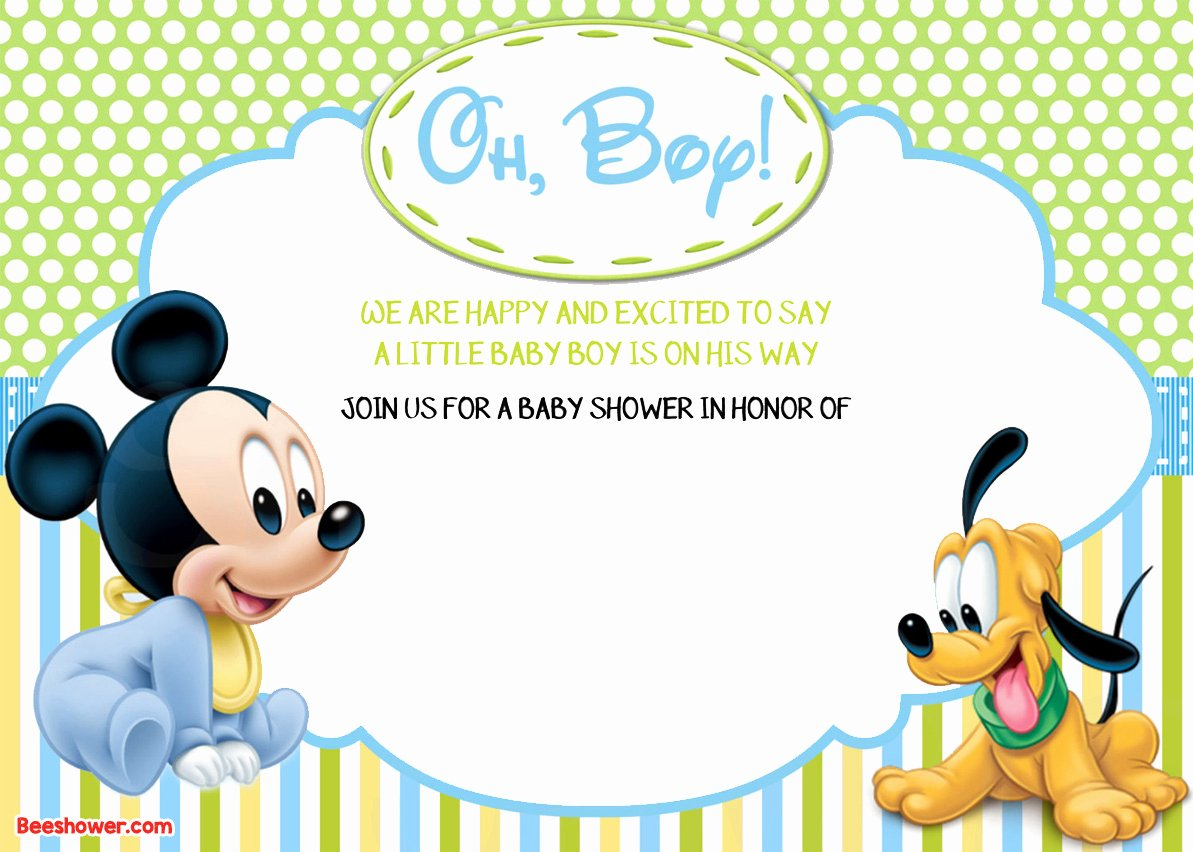 Mickey Mouse Invitations Template Luxury Free Printable Disney Baby Shower Invitations Free