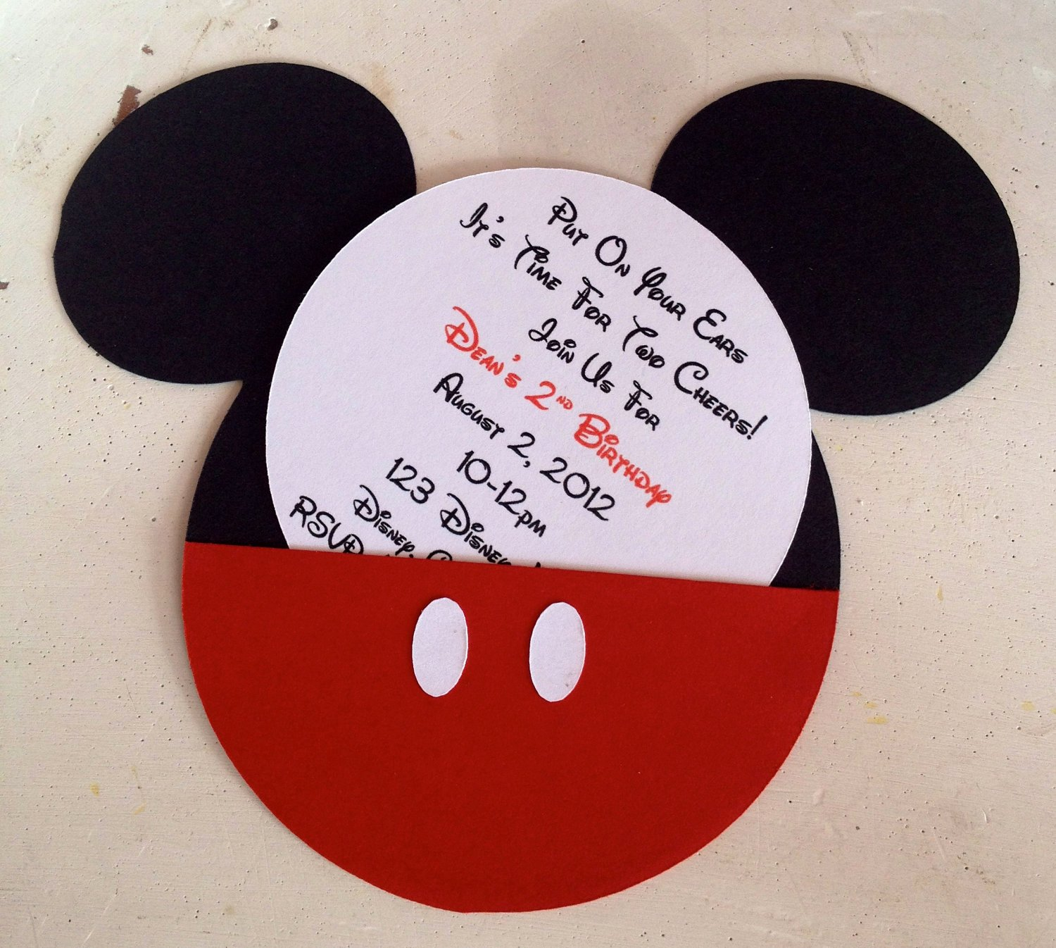 Mickey Mouse Invitations Template Luxury Handmade Custom Red Mickey Mouse Birthday Invitations Set Of