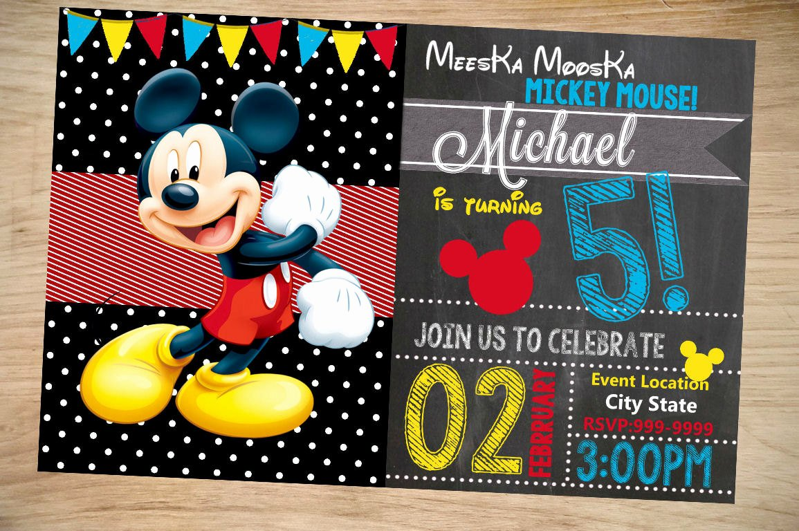 Mickey Mouse Invitations Template Luxury Mickey Mouse Birthday Invitation Birthday Invitation
