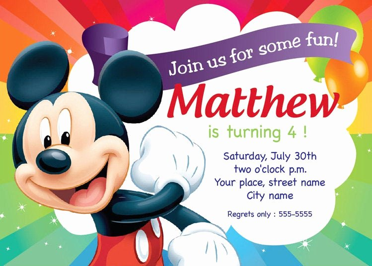 Mickey Mouse Invitations Template New Mickey Mouse Birthday Invitation Card Printable Template