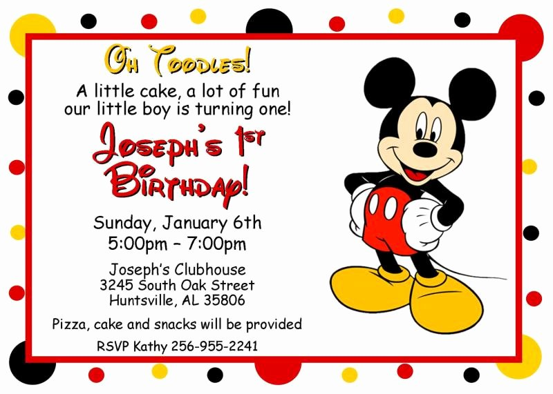 Mickey Mouse Invitations Template Unique Mickey Mouse Oh toodles Birthday by thenotecardlady On
