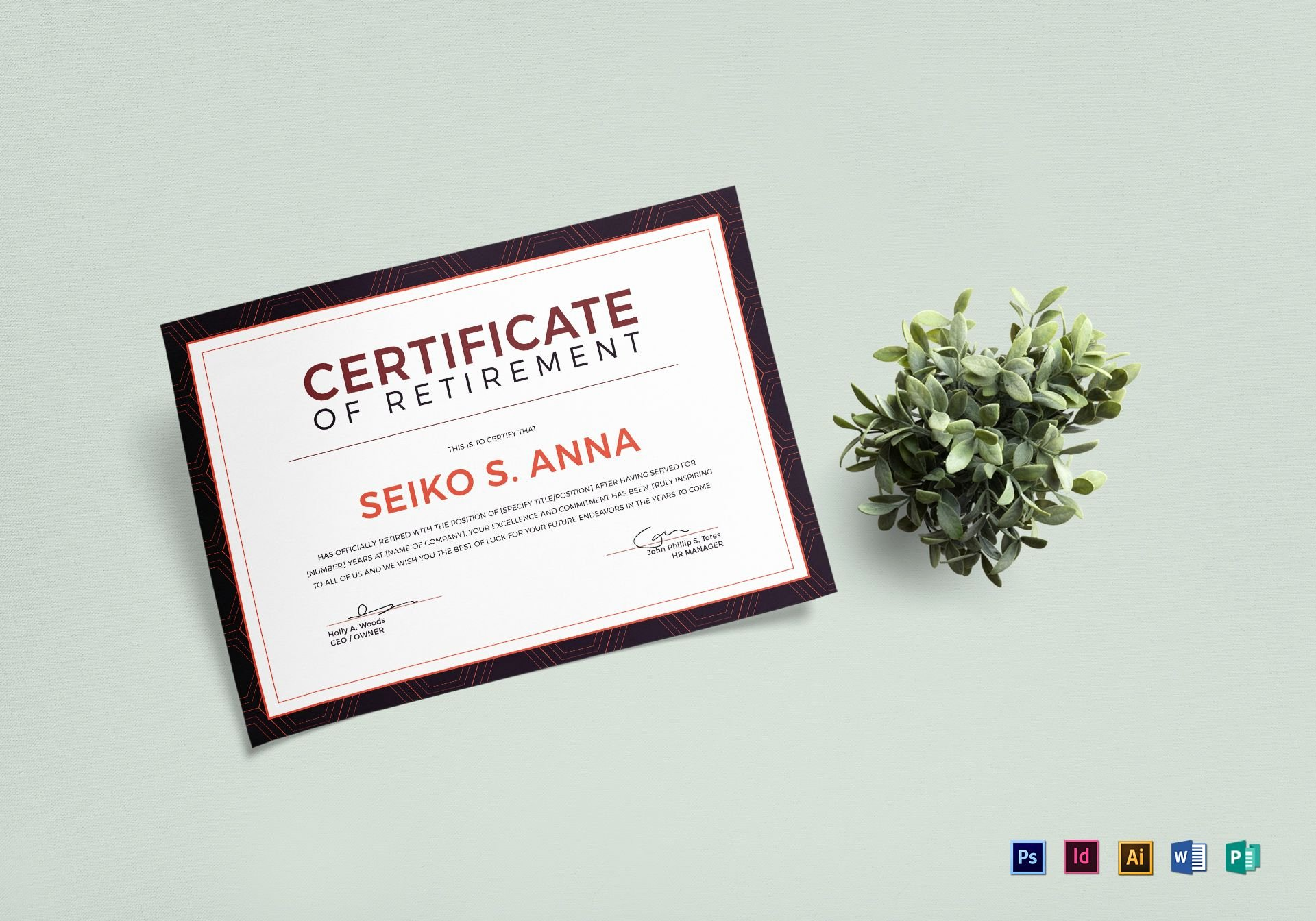 Microsoft Publisher Certificate Template Awesome Retirement Certificate Design Template In Psd Word