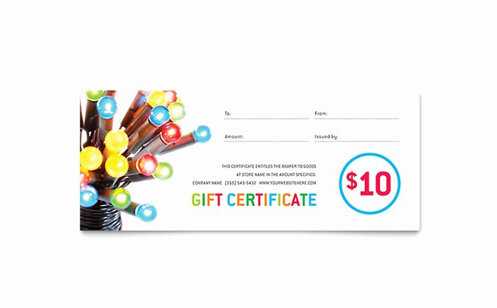 Microsoft Publisher Certificate Template Beautiful Christmas Lights Gift Certificate Template Word & Publisher