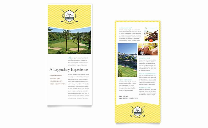 Microsoft Publisher Certificate Template Fresh Golf Resort Rack Card Template Word & Publisher