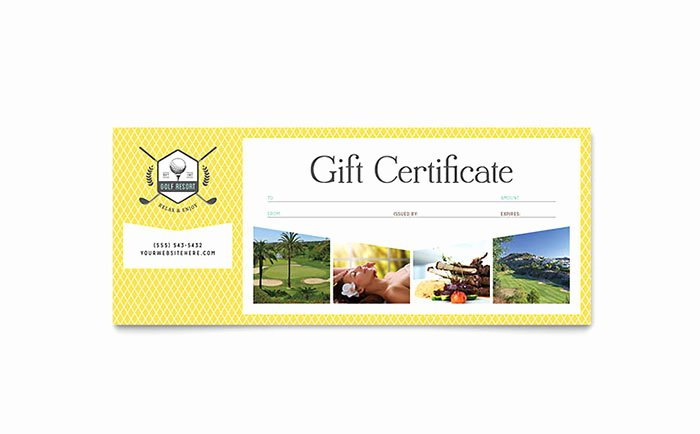 Microsoft Publisher Certificate Template Lovely Golf Resort Gift Certificate Template Word & Publisher