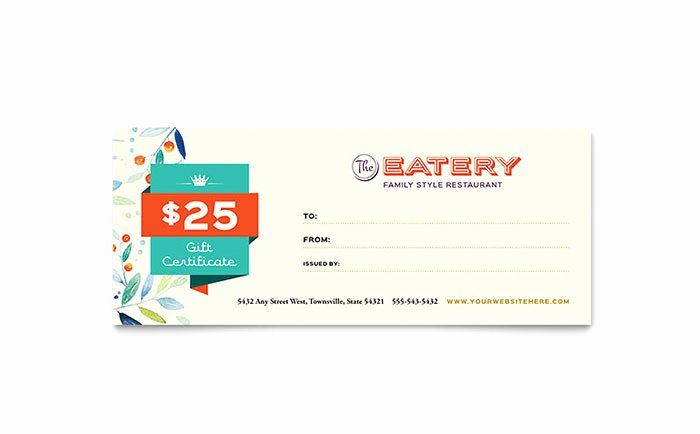 Microsoft Publisher Certificate Template Luxury Family Restaurant Gift Certificate Template Word & Publisher