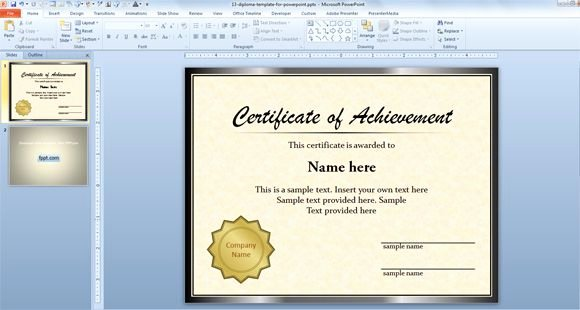 Microsoft Publisher Certificate Template Unique Free Diploma Certificate Template for Microsoft Powerpoint