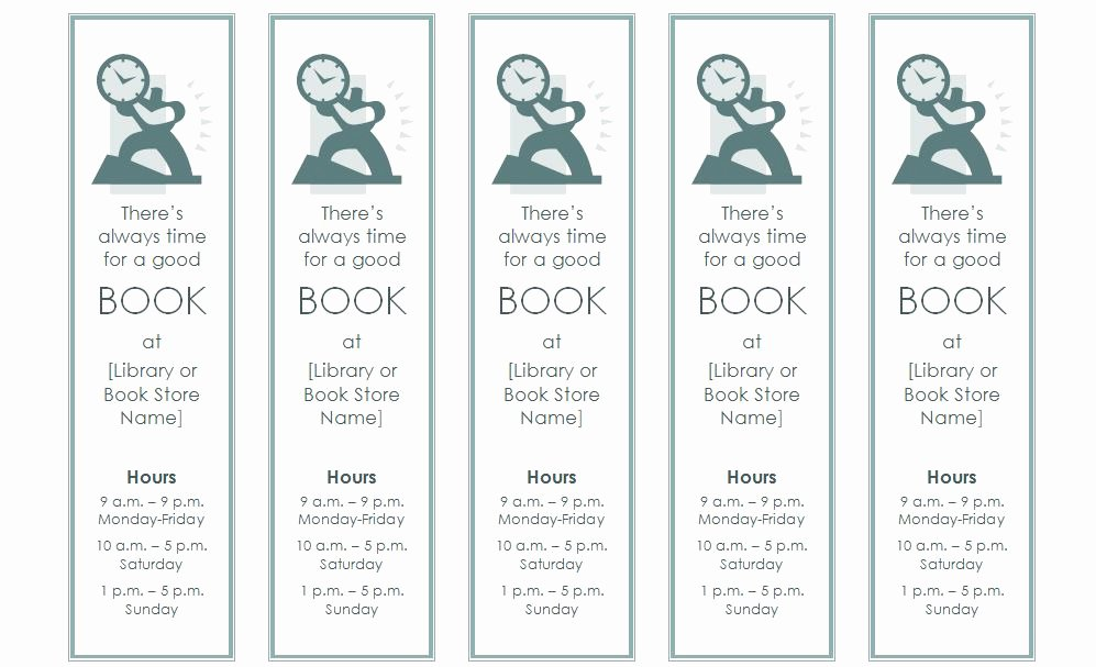 Microsoft Word Blank Bookmark Template Lovely Bookmark Template