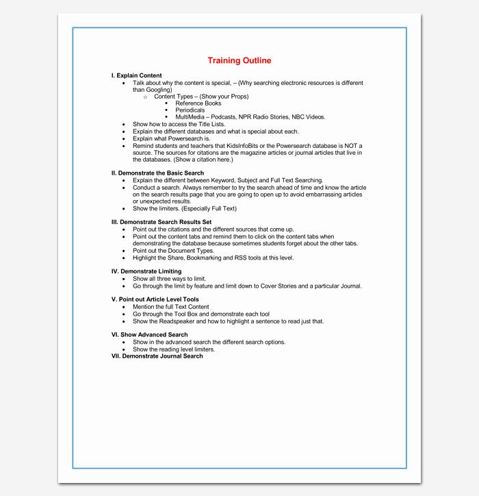 Microsoft Word Outline Template Fresh Training Course Outline Template 24 Free for Word & Pdf