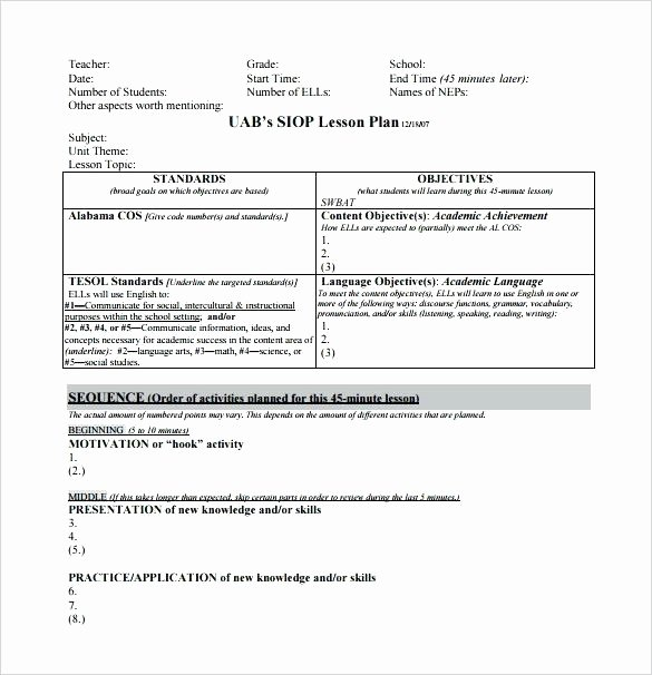 Middle School Lesson Plan Template Awesome Middle School Lesson Plan Template Pdf – Lesson Plan Sheet