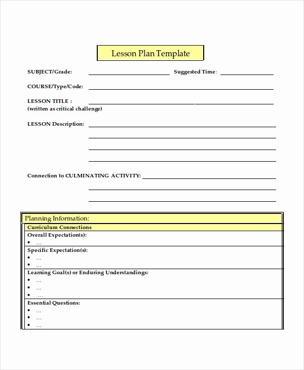 Middle School Lesson Plan Template Inspirational Lesson Plan Template 17 Free Word Pdf Document