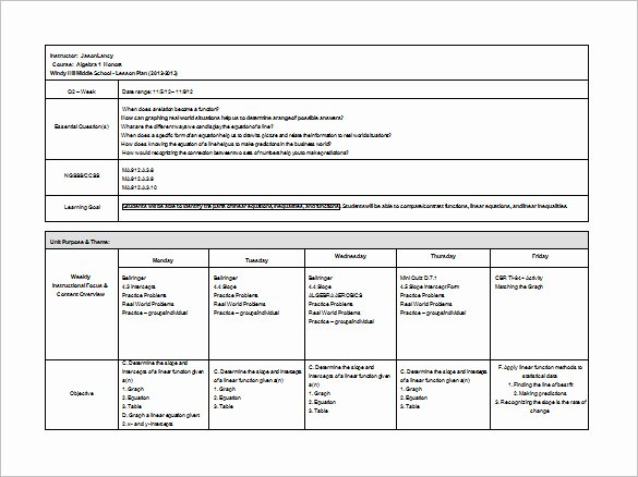 Middle School Lesson Plan Template Lovely Middle School Lesson Plan Template 7 Free Word Excel