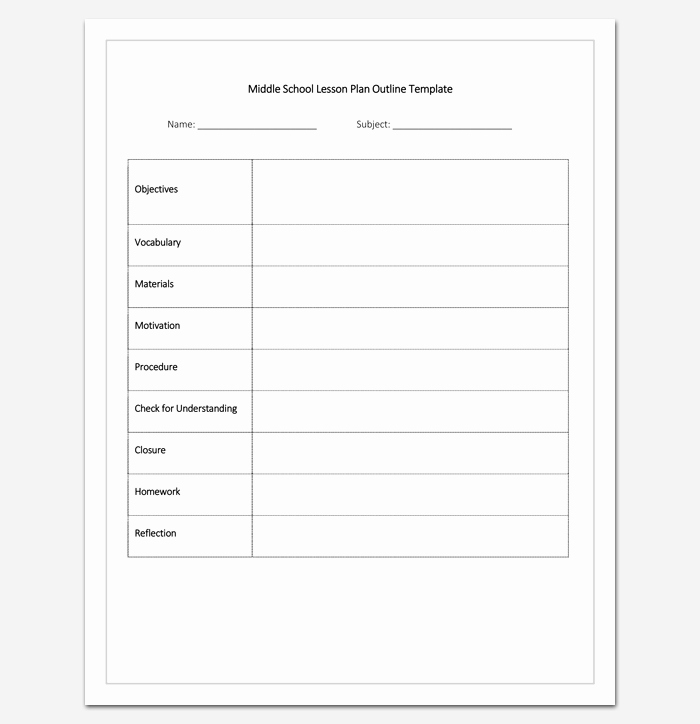 Middle School Lesson Plan Template New Lesson Plan Outline Template 23 Examples formats and