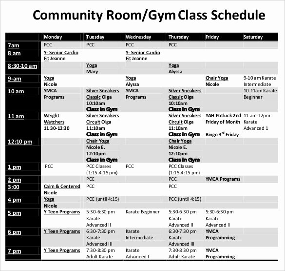 Middle School Schedule Template Awesome Class Schedule Template 36 Free Word Excel Documents