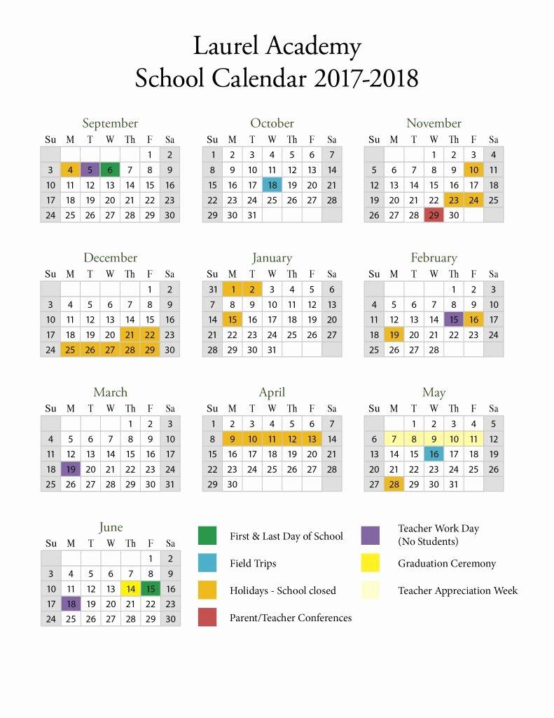 Middle School Schedule Template Awesome Seattle Public Schools Calendar 2017 18 2018 Calendar
