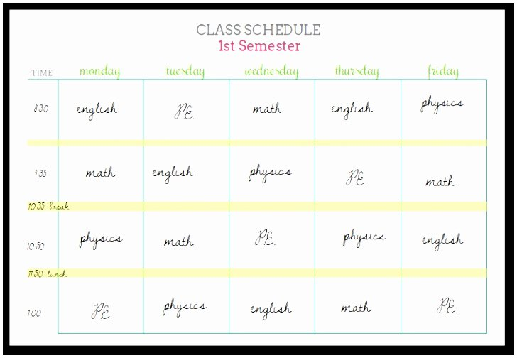 Middle School Schedule Template Lovely 5 Middle School Schedule Template Eiuyt