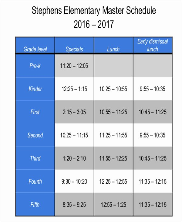 Middle School Schedule Template Lovely Master Schedule Templates 11 Free Samples Examples