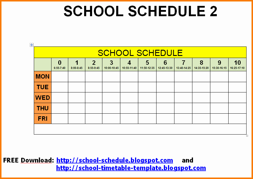 Middle School Schedule Template Lovely School Schedule Template