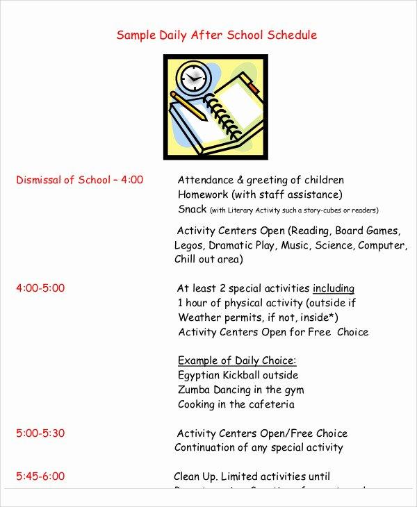 Middle School Schedule Template Luxury School Schedule Template 11 Free Samples Examples