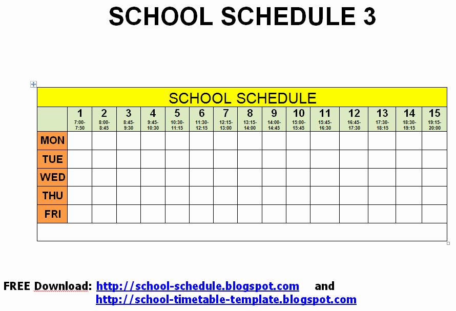 Middle School Schedule Template Unique Schedule for School Printable Template School Schedule 3