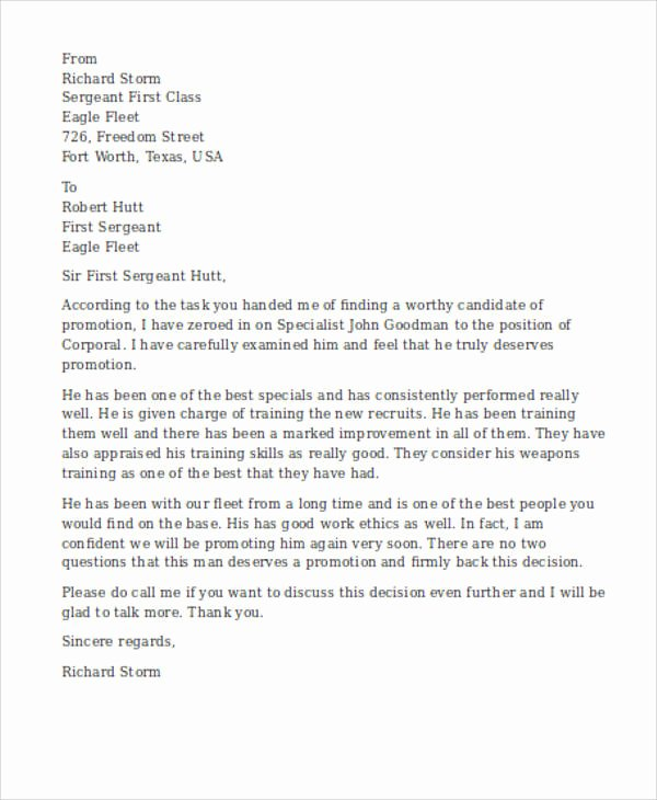 Military Letter Of Recommendation Template Best Of 7 Sample Military Re Mendation Letter Samples