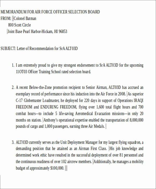 Military Letter Of Recommendation Template Elegant Sample Air force Letter Of Re Mendation 6 Examples In