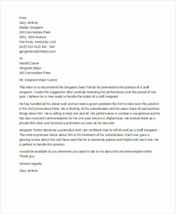 Military Letter Of Recommendation Template Fresh 7 Sample Military Re Mendation Letter Samples