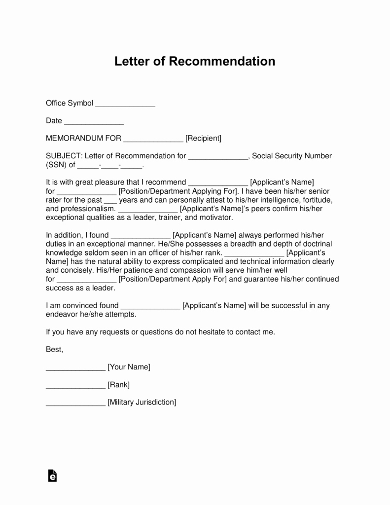 Military Letter Of Recommendation Template Fresh Free Military Letter Of Re Mendation Templates Samples