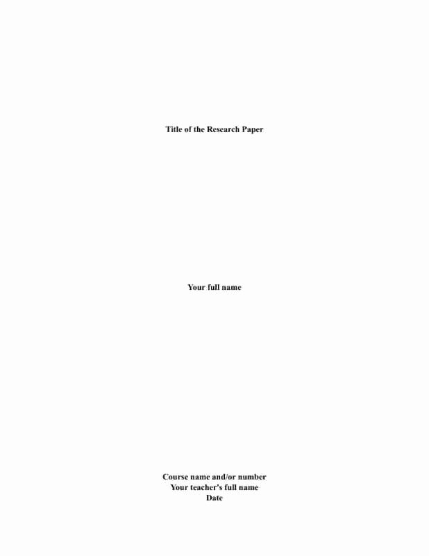 Mla Cover Page Template Fresh Term Paper format Front Page
