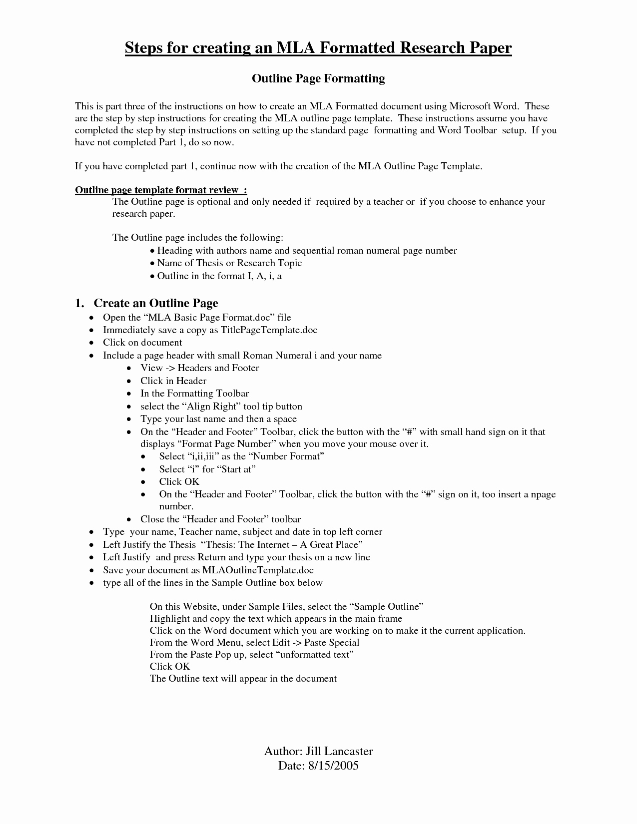 Mla format Outline Template Awesome Other issues On This Class