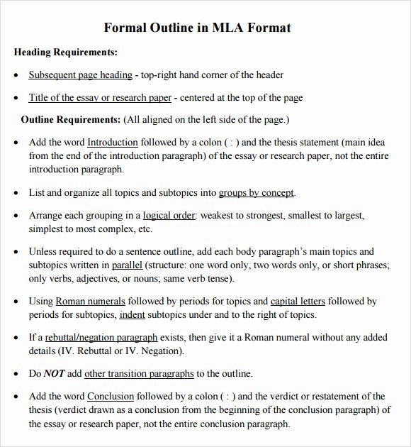 Mla format Outline Template Beautiful Free 9 Sample Mla Outline Templates In Pdf