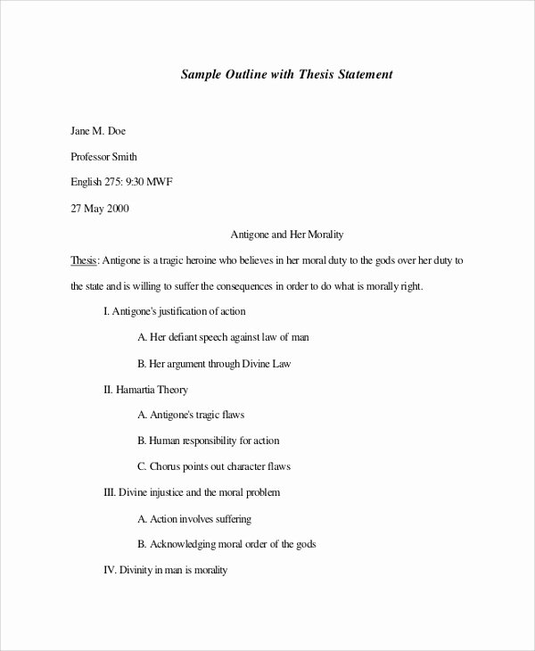 Mla format Outline Template Fresh Sample Mla Outline 6 Documents In Pdf Word
