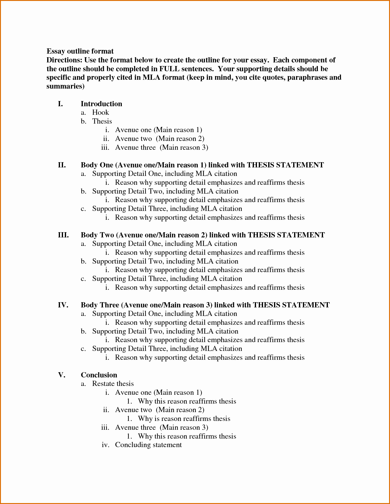 Mla format Outline Template Luxury 8 Essay Outline Template