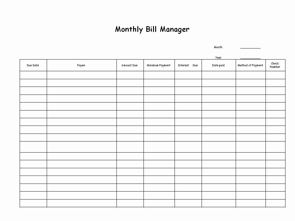 Monthly Bill organizer Template Excel Elegant Best S Of Cute Monthly Bill organizer Printable