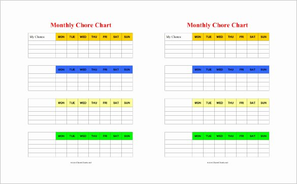 Monthly Chore Chart Template Fresh 11 Chore Chart Template Free Sample Example format