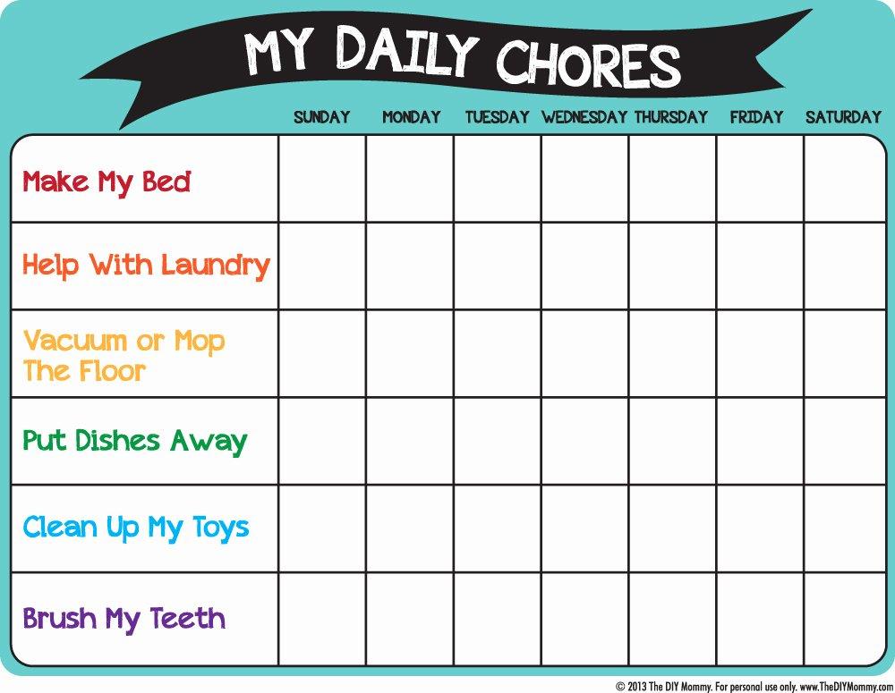 Monthly Chore Chart Template Inspirational Make A Preschool Chore Chart – Free Printable