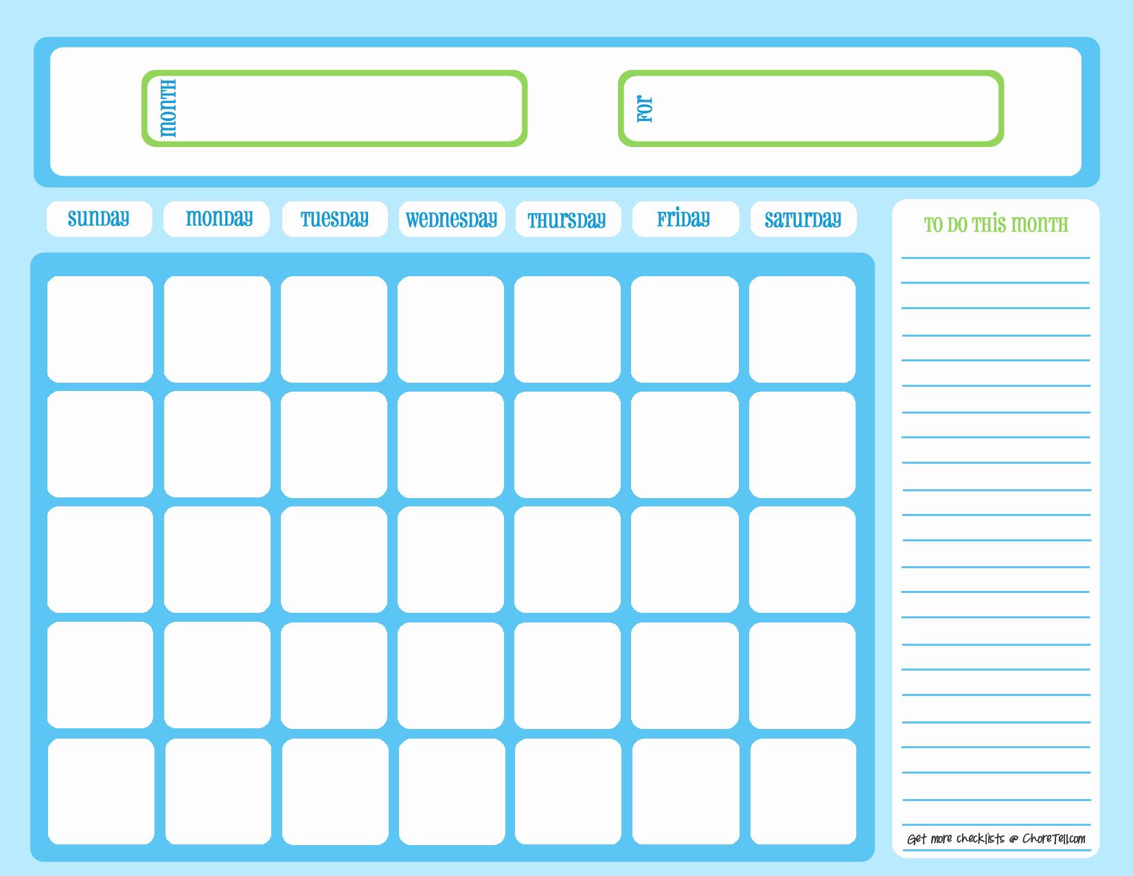 Monthly Chore Chart Template Lovely Blank Chore Calendar Blue On Light Blue