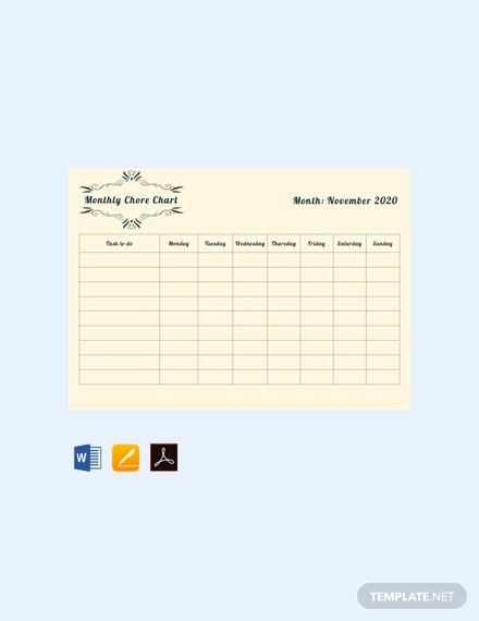 Monthly Chore Chart Template Lovely Free Blank Chore Chart Template Download 166 Charts In