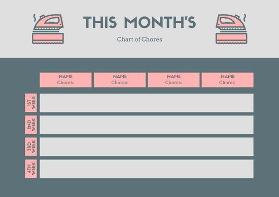 Monthly Chore Chart Template Lovely Gray Pink Monthly Chore Chart Templates by Canva