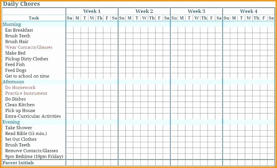 Monthly Chore Chart Template Luxury 11 12 Weekly Chore Calendar Template