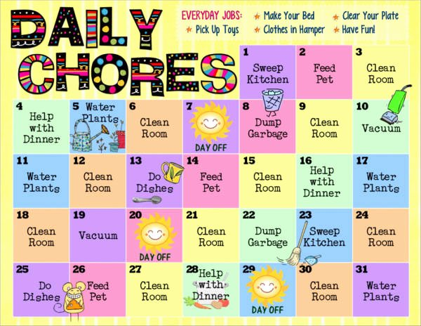 Monthly Chore Chart Template Luxury Free 9 Kid S Chore Schedule Templates In Pdf