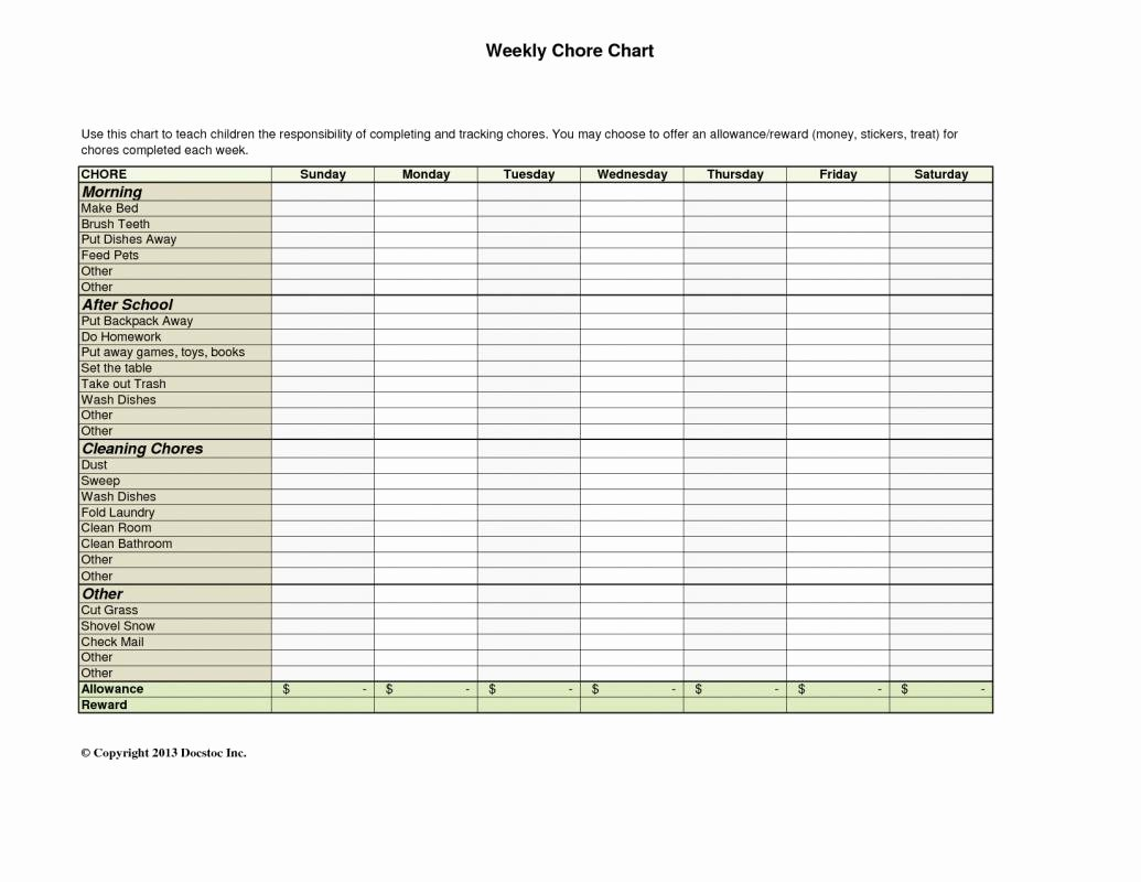 Monthly Chore Chart Template Luxury Weekly Chore Chart Template