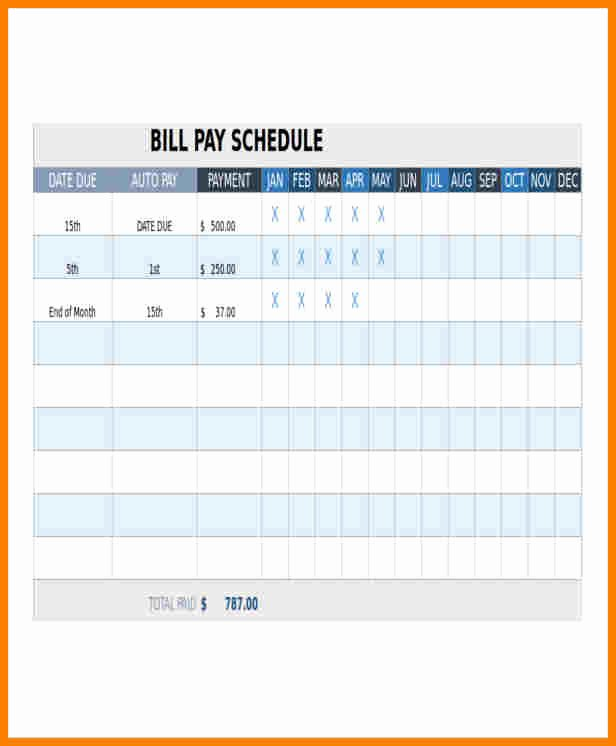 9 monthly bill pay template