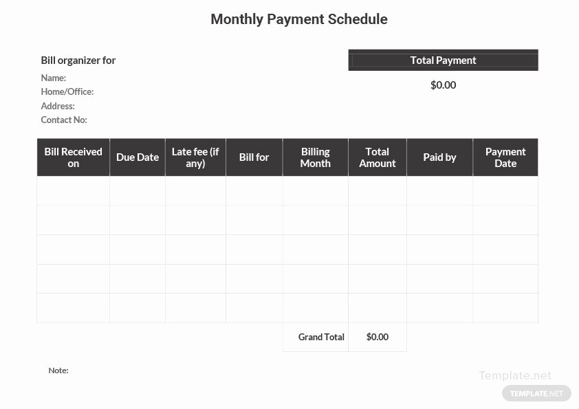 Monthly Payment Schedule Template Awesome Monthly Payment Schedule Template In Microsoft Word Excel